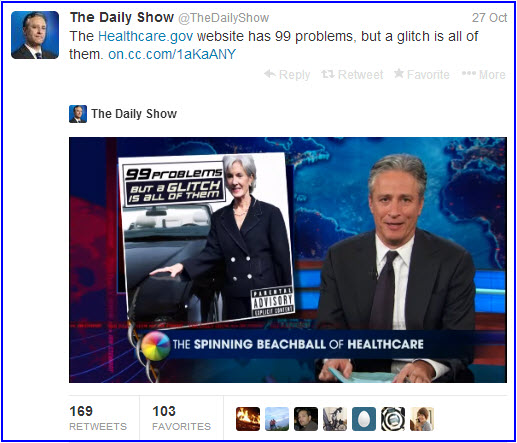 Daily Show tweet about healthcare.gov issues