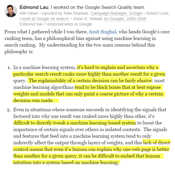 google search quality and machine learning